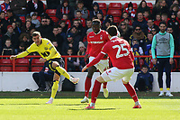 Blackburn Rovers' Joe Rothwell scores his side's first goal  <br /> <br /> Photographer David Shipman/CameraSport<br /> <br /> The EFL Sky Bet Championship - Nottingham Forest v Blackburn Rovers - Saturday 13th April 2019 - The City Ground - Nottingham<br /> <br /> World Copyright © 2019 CameraSport. All rights reserved. 43 Linden Ave. Countesthorpe. Leicester. England. LE8 5PG - Tel: +44 (0) 116 277 4147 - admin@camerasport.com - www.camerasport.com