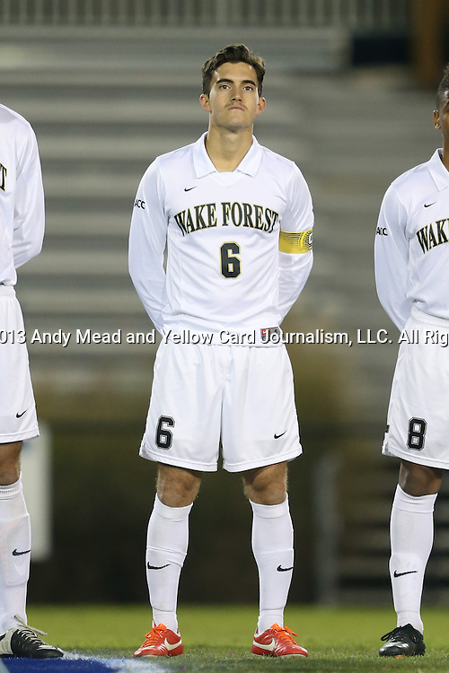 25 October 2013: Wake Forest's Ross Tomaselli. The Duke University Blue Devils hosted the Wake Forest University Demon Deacons at Koskinen Stadium in Durham, NC in a 2013 NCAA Division I Men's Soccer match. The game ended in a 2-2 tie after two overtimes.