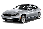 2019 BMW 5 Series 540i Sport Line 4 Door Sedan angular front stock photos of front three quarter view