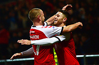 Fleetwood Town's Wes Burns celebrates scoring his side's second goal with team-mate Paddy Madden<br /> <br /> Photographer Richard Martin-Roberts/CameraSport<br /> <br /> The EFL Sky Bet League One - Fleetwood Town v Coventry City - Tuesday 27th November 2018 - Highbury Stadium - Fleetwood<br /> <br /> World Copyright &not;&copy; 2018 CameraSport. All rights reserved. 43 Linden Ave. Countesthorpe. Leicester. England. LE8 5PG - Tel: +44 (0) 116 277 4147 - admin@camerasport.com - www.camerasport.com
