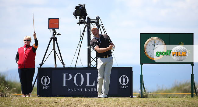 Graeme McDowell (NIR)  surrounding by clocks and gadgets on the 4th tee during Round One of the 145th Open Championship, played at Royal Troon Golf Club, Troon, Scotland. 14/07/2016. Picture: David Lloyd | Golffile.<br /> <br /> All photos usage must carry mandatory copyright credit (&copy; Golffile | David Lloyd)