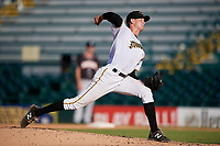 Bradenton Marauders relief pitcher Mike Wallace (28) delivers a pitch during the second game of a doubleheader against the Jupiter Hammerheads on May 27, 2018 at LECOM Park in Bradenton, Florida.  Jupiter defeated Bradenton 4-1.  (Mike Janes/Four Seam Images)