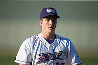 Winston-Salem Dash starting pitcher Jordan Stephens (27) warms up in the outfield prior to the game against the Potomac Nationals at BB&T Ballpark on May 13, 2016 in Winston-Salem, North Carolina.  The Dash defeated the Nationals 5-4 in 11 innings.  (Brian Westerholt/Four Seam Images)