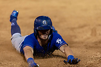 Rancho Cucamonga Quakes designated hitter Donovan Casey (25) slides into third base for a triple during a California League game against the Visalia Rawhide on April 8, 2019 in Visalia, California. Rancho Cucamonga defeated Visalia 4-1. (Zachary Lucy/Four Seam Images)