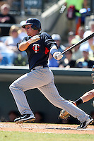 March 8, 2010:  Second Baseman Luke Hughes of the Minnesota Twins during a Spring Training game at Ed Smith Stadium in Sarasota, FL.  Photo By Mike Janes/Four Seam Images