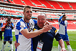Bristol Rovers celebrate victory in the 2015 Vanarama Conference Promotion Final match between Grimsby Town and Bristol Rovers at Wembley Stadium, London<br /> Picture by David Horn/eXtreme aperture photography +44 7545 970036<br /> 17/05/2015