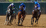 MAR 07: Thousand Words with Abel Cedillo (right) drives off the turn With Cezanne (center) and Honor AP (left) in the Shared Belief Stakes at Del Mar Thoroughbred Club in Del Mar, California on August 01, 2020. Evers/Eclipse Sportswire/CSM