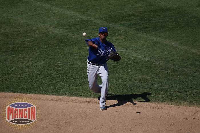 OAKLAND, CA - SEPTEMBER 7:  Alcides Escobar #2 of the Kansas City Royals makes a play at shortstop against the Oakland Athletics during the game at O.co Coliseum on September 7, 2011 in Oakland, California. Photo by Brad Mangin