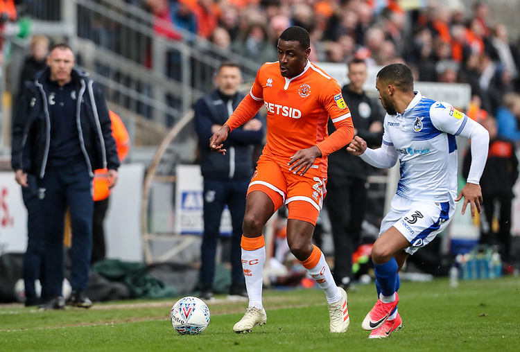 Blackpool's Donervon Daniels competing with Bristol Rovers' Tareiq Holmes-Dennis <br /> <br /> Photographer Andrew Kearns/CameraSport<br /> <br /> The EFL Sky Bet League Two - Bristol Rovers v Blackpool - Saturday 2nd March 2019 - Memorial Stadium - Bristol<br /> <br /> World Copyright © 2019 CameraSport. All rights reserved. 43 Linden Ave. Countesthorpe. Leicester. England. LE8 5PG - Tel: +44 (0) 116 277 4147 - admin@camerasport.com - www.camerasport.com