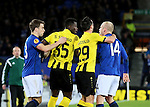 Sekou Sanogo Junior of BSC Young Boys clashes with Steven Naismith of Everton- UEFA Europa League Round of 32 Second Leg - Everton vs Young Boys - Goodison Park Stadium - Liverpool - England - 26th February 2015 - Picture Simon Bellis/Sportimage