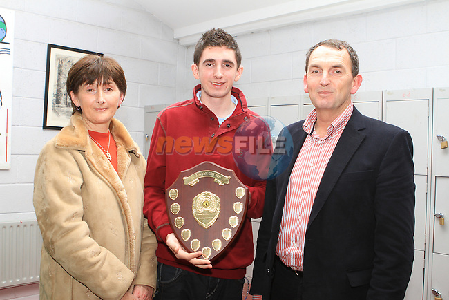 Ronan Califf who won the Peadar McCann Award for Academic Excellence pictured with his parents Helen and Padraig at the Student Awards in St Josephs Secondary School...(Photo credit should read Jenny Matthews www.newsfile.ie)....This Picture has been sent you under the conditions enclosed by:.Newsfile Ltd..The Studio,.Millmount Abbey,.Drogheda,.Co Meath..Ireland..Tel: +353(0)41-9871240.Fax: +353(0)41-9871260.GSM: +353(0)86-2500958.email: pictures@newsfile.ie.www.newsfile.ie.