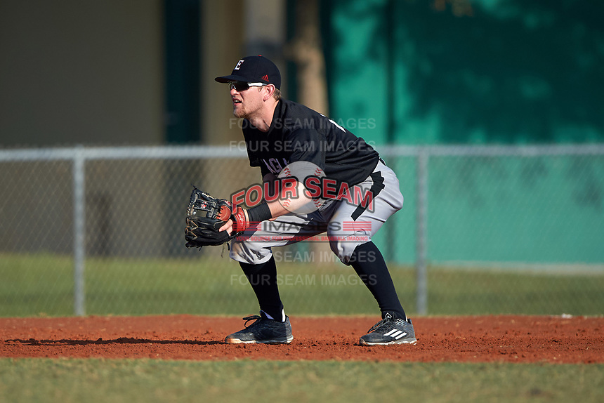 Edgewood Eagles Tim Nunn (12) during the first game of a doubleheader against the Lasell Lasers on April 14, 2016 at Terry Park in Fort Myers, Florida.  Edgewood defeated Lasell 9-7.  (Mike Janes/Four Seam Images)