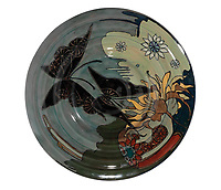 BNPS.co.uk (01202 558833)<br /> Pic: Duke's/BNPS<br /> <br /> A plate decorated with a butterfly<br /> <br /> A collection of pottery that belonged to late Blue Peter presenter John Noakes is being sold by his widow for around £10,000.<br /> <br /> The 29 pieces of Rozenburg porcelain were collected by the 1970s TV star right up until his death, three years ago in 2017.<br /> <br /> Since then they have been in the ownership of his wife Vicky who has now decided the time is right to put them on the market.