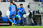 14.04.2019, PreZero Dual Arena, Sinsheim, GER, 1. FBL, TSG 1899 Hoffenheim vs. Hertha BSC Berlin, <br /> <br /> DFL REGULATIONS PROHIBIT ANY USE OF PHOTOGRAPHS AS IMAGE SEQUENCES AND/OR QUASI-VIDEO.<br /> <br /> im Bild: Einwechslung Auswechslung #Reiss Nelson (TSG Hoffenheim #9) fuer Nadiem Amiri (TSG Hoffenheim #18)<br /> <br /> Foto © nordphoto / Fabisch