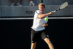 26 MAY 2011: Joey Fritz of Amherst returns a volley during the Division III Men's Tennis Championship held at the Biszantz Family Tennis Center and Pauley Tennis Complex in Claremont, CA. Amherst defeated Emory 5-2 for the national title. Stephen Nowland/NCAA Photos