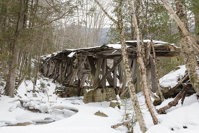 Side view of the snow covered Trestle 16 (Black Brook Trestle) along the old East Branch & Lincoln Railroad (1893-1948) in the Pemigewasset Wilderness of Lincoln, New Hampshire. This is how the bridge looked during the winter of 2011.