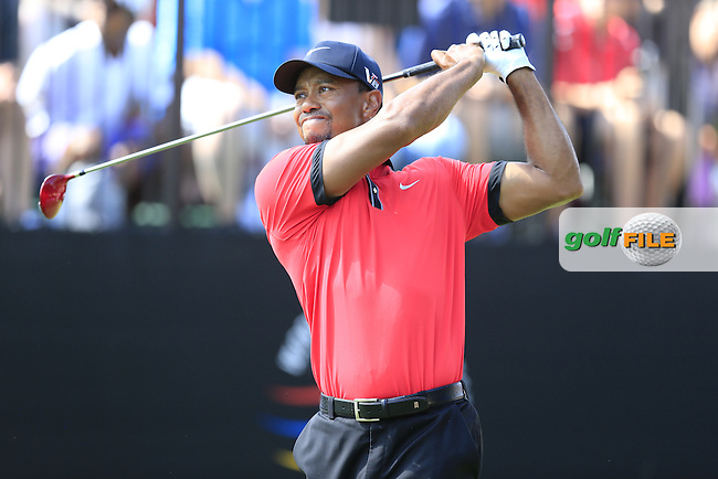 Tiger Woods (USA) tees off the 10th tee during Sunday's Final Round of the 2013 Bridgestone Invitational WGC tournament held at the Firestone Country Club, Akron, Ohio. 4th August 2013.<br /> Picture: Eoin Clarke www.golffile.ie