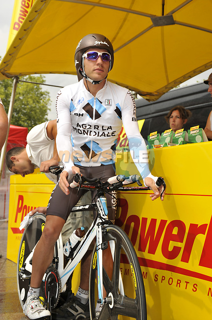 Rinaldo Nocentini (ITA) AG2R La Mondiale before the start Stage 18 of the Tour de France 2009 an individual time trial running 40.5km around Lake Annecy, France. 23rd July 2009 (Photo by Eoin Clarke/NEWSFILE)