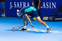 27th October 2019; St. Jakobshalle, Basel, Switzerland; ATP World Tour Tennis, Swiss Indoors Final; Alex de Minaur (AUS) shows his frustration in the match against Roger Federer (SUI)  - Editorial Use