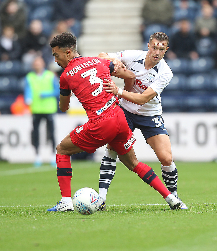 Preston North End's Billy Bodin in action with Wigan Athletic's Antonee Robinson <br /> <br /> Photographer Mick Walker/CameraSport<br /> <br /> The EFL Sky Bet Championship - Preston North End v Wigan Athletic - Saturday 10th August 2019 - Deepdale Stadium - Preston<br /> <br /> World Copyright © 2019 CameraSport. All rights reserved. 43 Linden Ave. Countesthorpe. Leicester. England. LE8 5PG - Tel: +44 (0) 116 277 4147 - admin@camerasport.com - www.camerasport.com