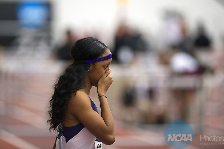 12 MAR 2011:   Brianna Rollins of Clemson reacts after winning the 60 Meter Hurdles during the Division I Men's and Women's Indoor Track and Field Championship held at the Gilliam Indoor Track Stadium on the Texas A&M University campus in College Station, TX.   Rollins ran a 7.96 for the national title.  Dave Einsel/ NCAA Photos
