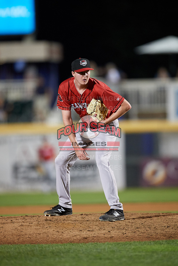 Erie SeaWolves relief pitcher Nolan Blackwood (23) looks in for the sign during a game against the Harrisburg Senators on August 29, 2018 at FNB Field in Harrisburg, Pennsylvania.  Harrisburg defeated Erie 5-4.  (Mike Janes/Four Seam Images)