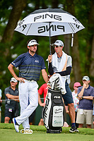 Bubba Watson (USA) stays dry as he looks over his tee shot on 5 during Friday's round 2 of the PGA Championship at the Quail Hollow Club in Charlotte, North Carolina. 8/11/2017.<br /> Picture: Golffile | Ken Murray<br /> <br /> <br /> All photo usage must carry mandatory copyright credit (&copy; Golffile | Ken Murray)