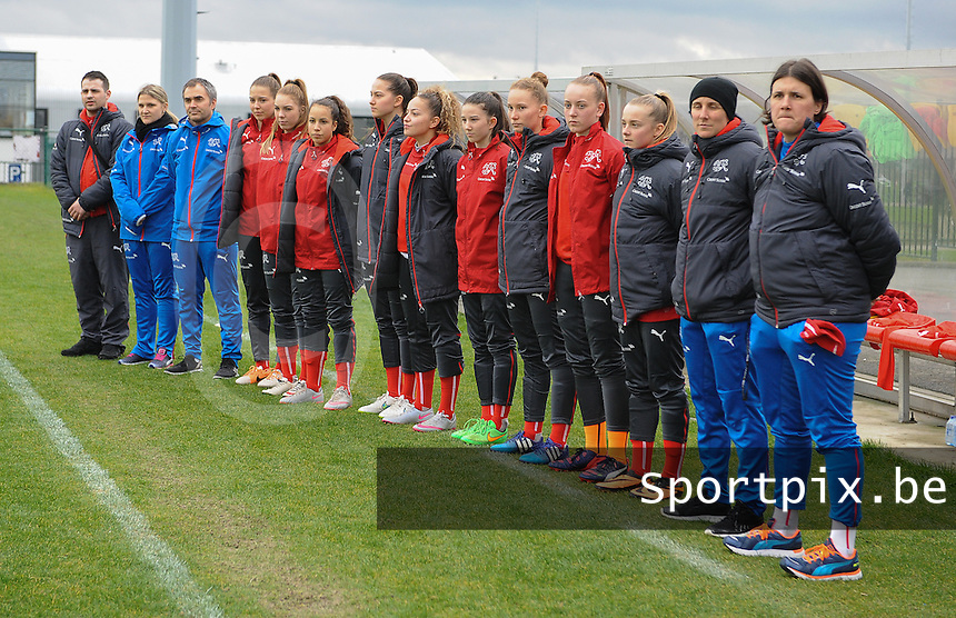 20160211 - TUBIZE , BELGIUM : Technical staff and substitutes of Switzerland pictured during the friendly female soccer match between Women under 17 teams of  Belgium and Switzerland , in Tubize , Belgium . Thursday 11th February 2016 . PHOTO SPORTPIX.BE DIRK VUYLSTEKE