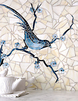 Chinoiserie, a handmade mosaic shown in Marcasite, Pewter and Mica jewel glass with Quartz Sea Glass&trade; is part of the Sea Glass&trade; collection by Sara Baldwin for New Ravenna. <br />
