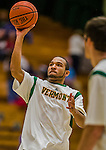 4 February 2014: University of Vermont Catamount Guard Dre Wills, a Freshman from Indianapolis, IN, warms up prior to facing the University of Maine Black Bears at Patrick Gymnasium in Burlington, Vermont. The Cats defeated the Bears 93-65 improving to 9-1 in America East and 15-9 overall. Mandatory Credit: Ed Wolfstein Photo *** RAW (NEF) Image File Available ***