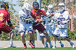 Los Angeles, CA 04/01/16 - Jake Corrigan (USC #31) and Ren-Taylor Chang (Loyola Marymount #20) and Owen McNiff (Loyola Marymount #13) in action during the University of Southern California and Loyola Marymount University SLC conference game  USC defeated LMU.