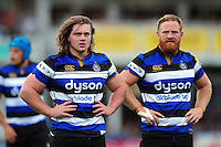 Nick Auterac and Ross Batty of Bath Rugby look on. Aviva Premiership match, between Bath Rugby and Worcester Warriors on September 17, 2016 at the Recreation Ground in Bath, England. Photo by: Patrick Khachfe / Onside Images