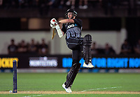 New Zealand's Mitchell Santner bats during the 4th Twenty20 International cricket match between NZ Black Caps and England at McLean Park in Napier, New Zealand on Friday, 8 November 2019. Photo: Dave Lintott / lintottphoto.co.nz