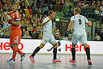 Leipzig, Germany, February 08: Dominic Uher #24 of Austria celebrates after scoring during the men gold medal match between The Netherlands (orange) and Austria (white) on February 8, 2015 at the FIH Indoor Hockey World Cup at Arena Leipzig in Leipzig, Germany. Final score 3-2. (Photo by Dirk Markgraf / www.265-images.com) *** Local caption *** +(L-R) Robert Tigges #10 of The Netherlands, Dominic Uher #24 of Austria, Michael Koerper #9 of Austria