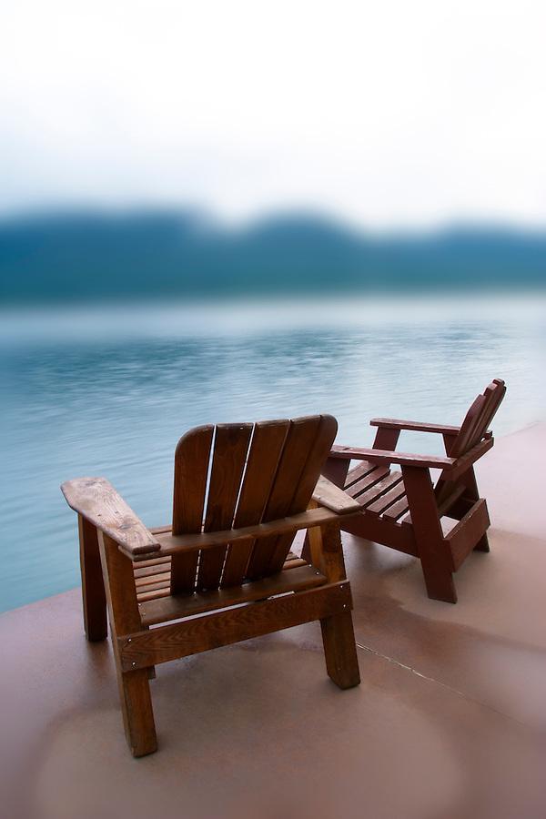 Adirondack chairs on dock, Quinault Lake, Olympic Peninsula, Grays Harbor County, Washington, USA