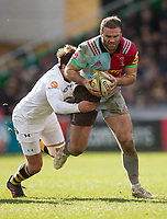Harlequins' Jamie Roberts is tackled by Wasps' Danny Cipriani<br /> <br /> Photographer Bob Bradford/CameraSport<br /> <br /> Aviva Premiership Round 14 - Harlequins v Wasps - Sunday 11th February 2018 - Twickenham Stoop - London<br /> <br /> World Copyright &copy; 2018 CameraSport. All rights reserved. 43 Linden Ave. Countesthorpe. Leicester. England. LE8 5PG - Tel: +44 (0) 116 277 4147 - admin@camerasport.com - www.camerasport.com