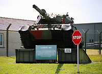 Thursday 15 June 2017<br />Pictured: A Leopard MK1 tank by the entrance to Castlemartin range.<br />Re: A soldier has been killed and three others injured after an incident involving a tank at a Ministry of Defence base in Pembrokeshire.<br />The soldier, from the Royal Tank Regiment, died in the incident at Castlemartin Range.<br />Two people were taken to Morriston Hospital in Swansea, while another casualty remains in Cardiff's University Hospital of Wales.<br />An investigation is under way.<br />Live firing was scheduled to take place at the range between Monday and Friday.<br />In May 2012, Ranger Michael Maguire died during a live firing exercise at the training base. An inquest later found he was unlawfully killed.