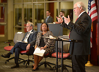 NWA Democrat-Gazette/ANDY SHUPE<br /> Jim Rollins (right), superintendent of Springdale Public Schools, speaks Thursday, Feb. 8, 2018, alongside Mike Mertens (left), assistant executive director of the Arkansas Association of Educational Administrators, and Tracey-Ann Nelson, executive director of the Arkansas Education Association, during the NWA Education Forum at the Don Tyson School of Innovation in Springdale. Representatives from the Springdale, Fayetteville, Bentonville, Siloam Springs and Pea Ridge school districts presented information about innovations and successes in their districts.