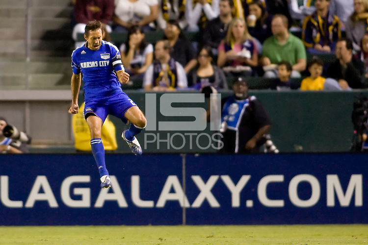 Davy Arnaud of the Kansas City Wizards jumps for joy after scoring the first goal of the game. The Kansas City Wizards beat the LA Galaxy 2-0 at Home Depot Center stadium in Carson, California on Saturday August 28, 2010.