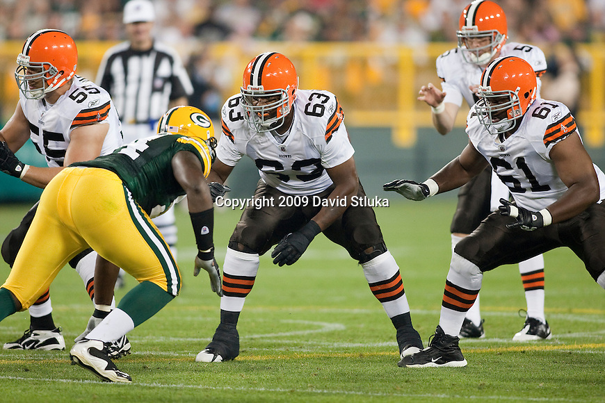 Cleveland Browns offensive linemen, from left to right, Alex Mack (55), Kurt Quarterman (63), and Isaac Sowells (61) pass block during an NFL preseason game against the Green Bay Packers on August 15, 2009 in Green Bay, Wisconsin. The Packers won 17-0. (AP Photo/David Stluka)