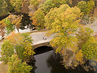 Franklin Park aerial views, autumn, Boston, MA bridge (F L Olmsted = landscape architect)