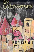 Europe/France/Languedoc-Rousillon/Aude/Carcassonne: la cité représentée sur la paroi d'un transformateur electrique de la ville basse
