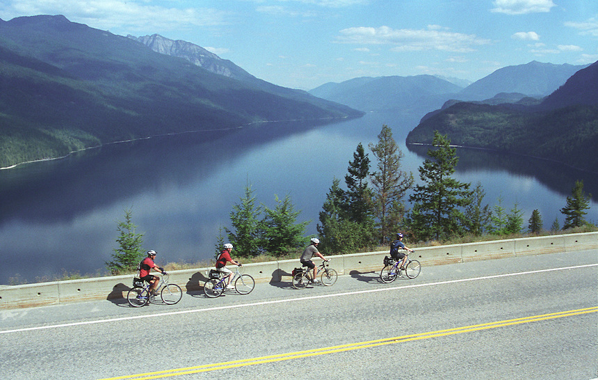 Bike Tour on bluffs above Slocan Lake, West Kootenay, BC