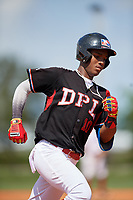 Maximo Maria (10) rounds the bases after hitting a home run during the Dominican Prospect League Elite Florida Event at Pompano Beach Baseball Park on October 15, 2019 in Pompano beach, Florida.  (Mike Janes/Four Seam Images)