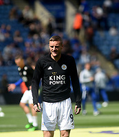 Leicester City's Jamie Vardy during the pre-match warm-up <br /> <br /> Photographer Hannah Fountain/CameraSport<br /> <br /> The Premier League - Leicester City v Chelsea - Sunday 12th May 2019 - King Power Stadium - Leicester<br /> <br /> World Copyright &copy; 2019 CameraSport. All rights reserved. 43 Linden Ave. Countesthorpe. Leicester. England. LE8 5PG - Tel: +44 (0) 116 277 4147 - admin@camerasport.com - www.camerasport.com