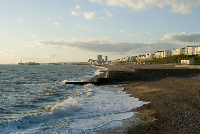 Brighton beach looking West from the sea wall.