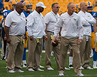 The Pitt football coaches led by head coach Pat Narduzzi (center with glasses). The Pitt Panthers defeated the Georgia Tech Yellow Jackets 37-34 at Heinz Field in Pittsburgh, Pennsylvania on October 08, 2016.