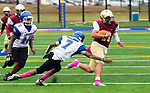 WATERBURY,  CT-101219JS16- Sacred Heart-Kaynor's Alex Gonzalez (11) run for a first down before getting tackled by Crosby's Taji Blizzard (7)  during their game Saturday at Municipal Stadium in Waterbury.<br /> Jim Shannon Republican-American