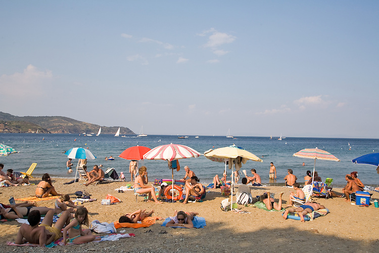 Italy, Island of Elba; Public Beach at Mola, Province of Livorno; Tuscany,.Mediterranean Sea; Tyrrhenian Sea; Tuscan archipelago, West coast of Italy, .