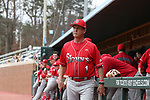 CHAPEL HILL, NC - FEBRUARY 21: Saint John's head coach Ed Blankmeyer. The University of North Carolina Tar heels hosted the Saint John's University Red Storm on February 21, 2018, at Boshamer Stadium in Chapel Hill, NC in a Division I College Baseball game. St John's won the game 5-2.